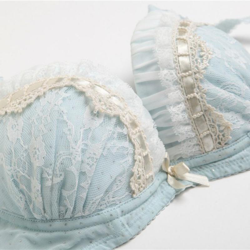 Sexy Lady Lace Underwear Bra Suit Girls Cute Push Up Bra Sets Lingerie Pink/Blue QL(China (Mainland))