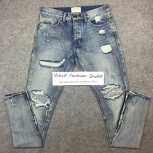 Best version fear of god FOG men Selvedge zipper destroyed skinny slim fit justin bieber Vintage ripped blue denim jeans(China (Mainland))