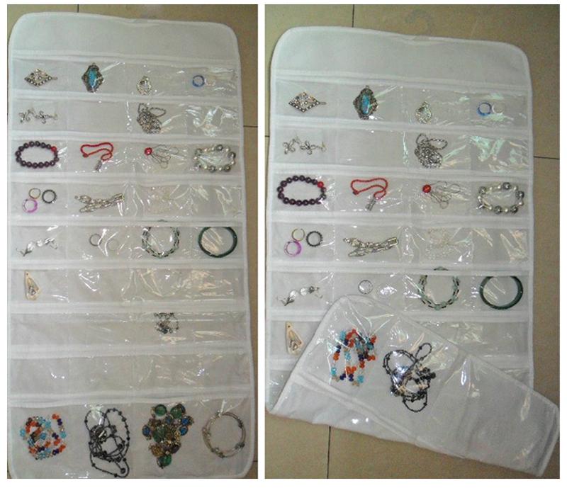 72 Unit Pocket Double Sided Hanging Jewelry Organizer Storage Bag Case Holder #54746(China (Mainland))