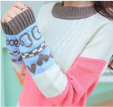 Sweater female loose pullover autumn winter outerwear medium-long small fresh plus size preppy style - clothes word store