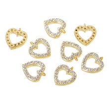 """DoreenBeads Copper Charm Pendants Heart 14K Gold Plated Pave Zircon 10mm( 3/8"""") x 9mm( 3/8""""),1 Piece 2015 new(China (Mainland))"""