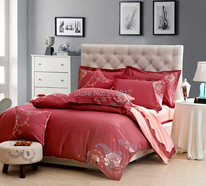 Home Textile 100% cotton Red Peonies's love embroidered designer's 4 pcs bedding sets wedding bed sheet/duvet cover king/queen(China (Mainland))