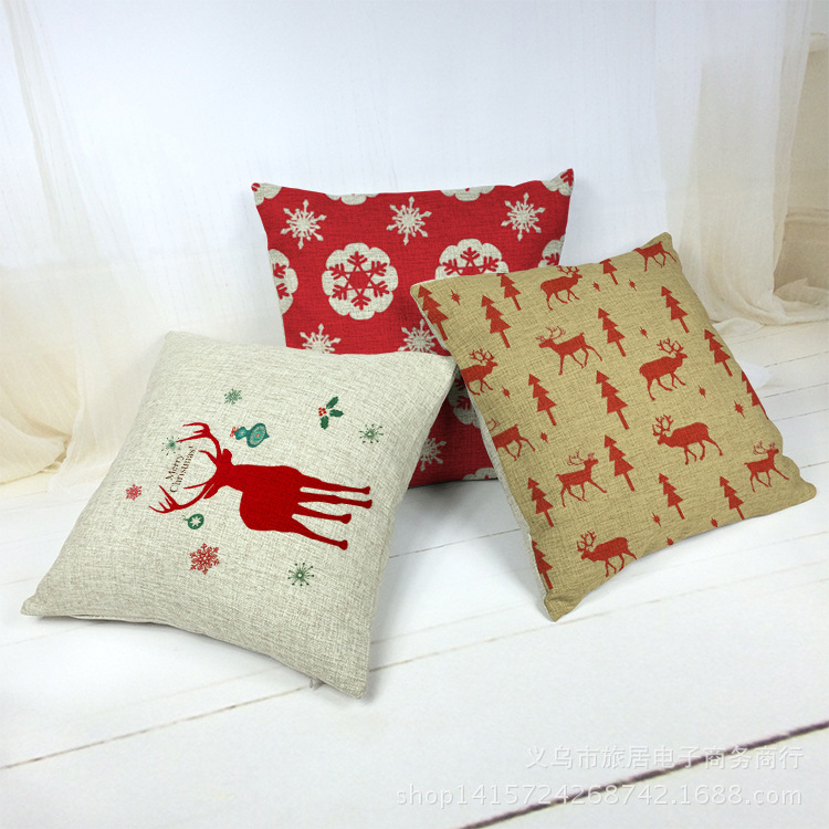 Hot Sale Pillow Case Deer Decorativas Almofada Home Decor Cushion Cover 45X45cm Linen Pillowcase Christmas Cojin Cuscini Divano