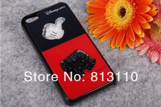 Free shipping  Fashion luxury  case Cute Mickey mouse beautiful rhinestone 4G 5G cell phone case  cover for iphone 4  4s  5