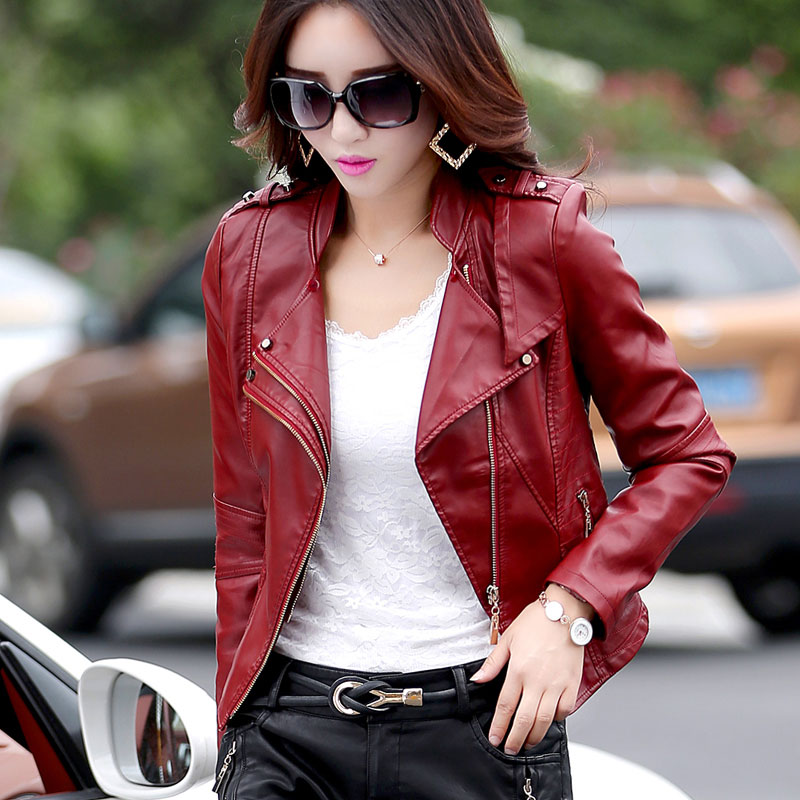 Fashion PU leather coats women Luxury good quality Faux leather slim Designer winter leather jacket free