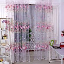 Brand New rideaux tournesol imprimé Voile porte fenêtre balcon dépistage Sheer rideaux vert rose livraison gratuite(China (Mainland))
