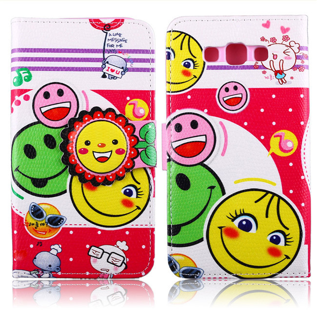 Top Quality Printing cute pattern Leather Case Cover For Samsung Galaxy E7 flip phone bags With Card Holder Cover slot 22 style(China (Mainland))