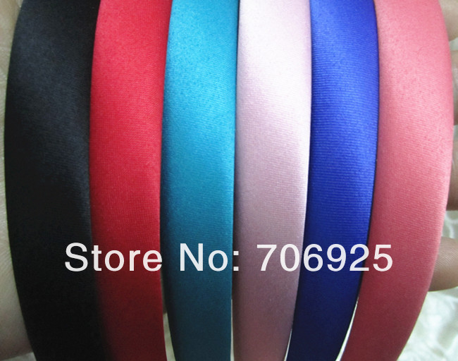 Free shipping Wholesale Mxied color (6color) Plastic Headbands with Fabric 14mm wide 30pieces/lot(China (Mainland))