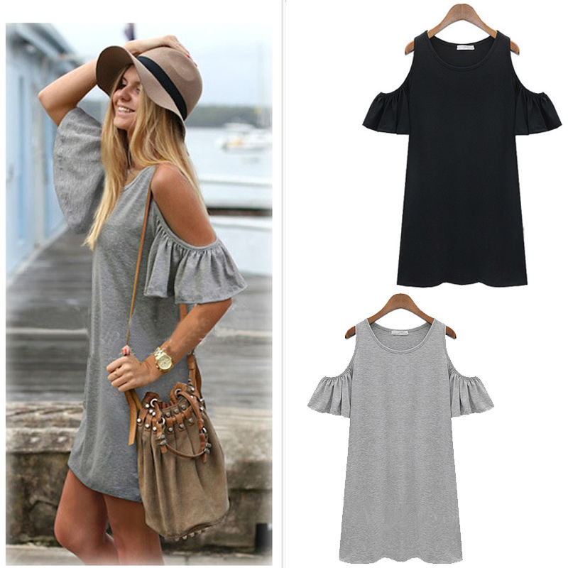 women summer Beach dresses Ladies Sexy Short Sleeve Cotton Grey Dress New Brand woman Casual Jersey O-neck Tops clothes(China (Mainland))
