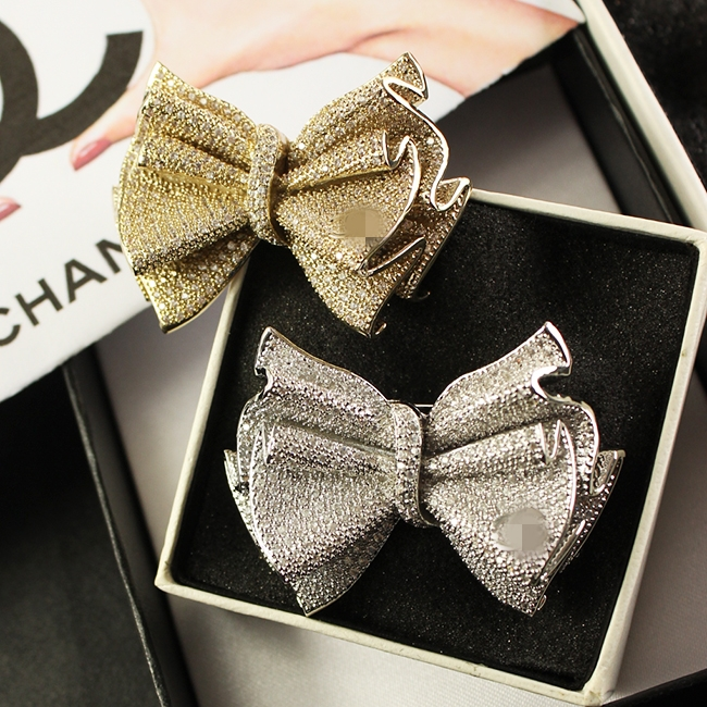 ultimate luxury high quality bow of the bright gem platinum brooch<br><br>Aliexpress