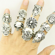Free Shipping Mixed 50pcs Top-quality Gothic Punk Assorted Wholesale Lots Skull Style Bikers Men's Vintage Tibetan Silver Rings(China (Mainland))