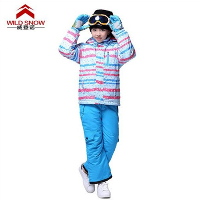 Children's Skiing or Snowboarding Suit Ski Waterproof Windproof Winter Clothing Suit Jacket+Pant Colored Stripped Girls Ski Set(China (Mainland))