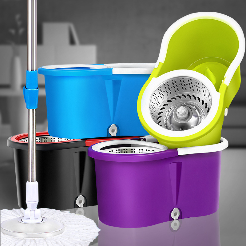 Easy Magic Floor Mop Bucket 2 Heads Microfiber Spin Mop Rotating Head microfiber head for housekeeper cleaning Free shipping(China (Mainland))