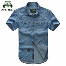AFS JEEP Plus size M- 5XL 2016 European cowboy style men's cool summer casual brand 100% cotton short shirts man blue shirt 3018(China (Mainland))