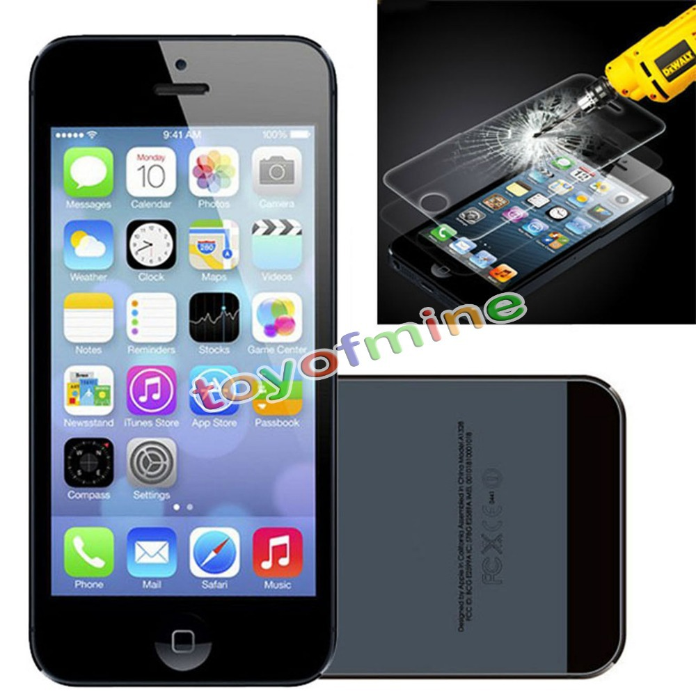 100% Genuine Tempered Glass Film Screen Protector for Apple iPhone 5 5S 5C(China (Mainland))