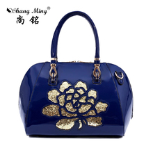 Hot Sale Women Crossbody Bags Shell Bags Bling Patent Leather Ladies Hollow Rose Flower Printing Messenger Girl's Handbags(China (Mainland))