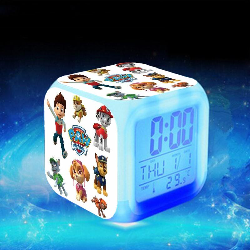 USB Chargr+2*AG13 Battery Ryder Skye LED reloj despertador Paw LED 7 Color Flash Digital Alarm Clocks Cute Dogs Patrolled Watch(China (Mainland))