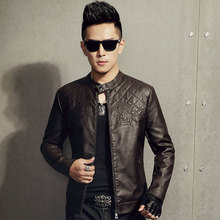 Men 's leather motorcycle jacket new winter with velvet men's leather solid color PU leather jacket fashion vein(China (Mainland))