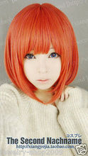 Wholesale& heat resistant LY free shipping>>>New wig Cosplay Popula Short Orange Women's Full Wig