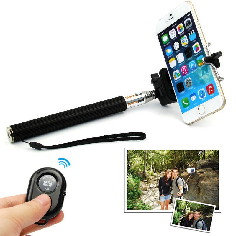 bluetooth remote shutter selfie stick extendable handheld monopod for iphone. Black Bedroom Furniture Sets. Home Design Ideas
