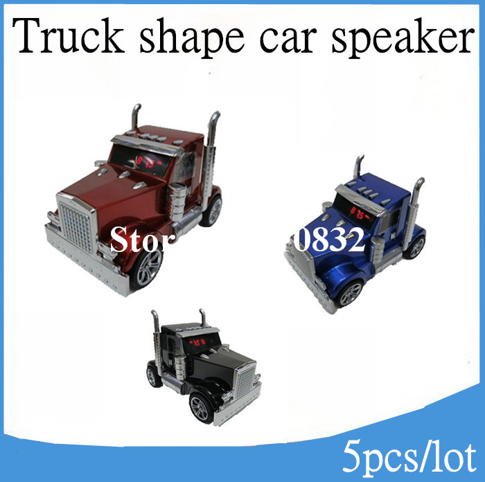 AN-T6 Truck Shape Music Car speaker portable mini loudspeaker with FM support USB disk TF card, DHL Free Shipping 5pcs/lot(China (Mainland))