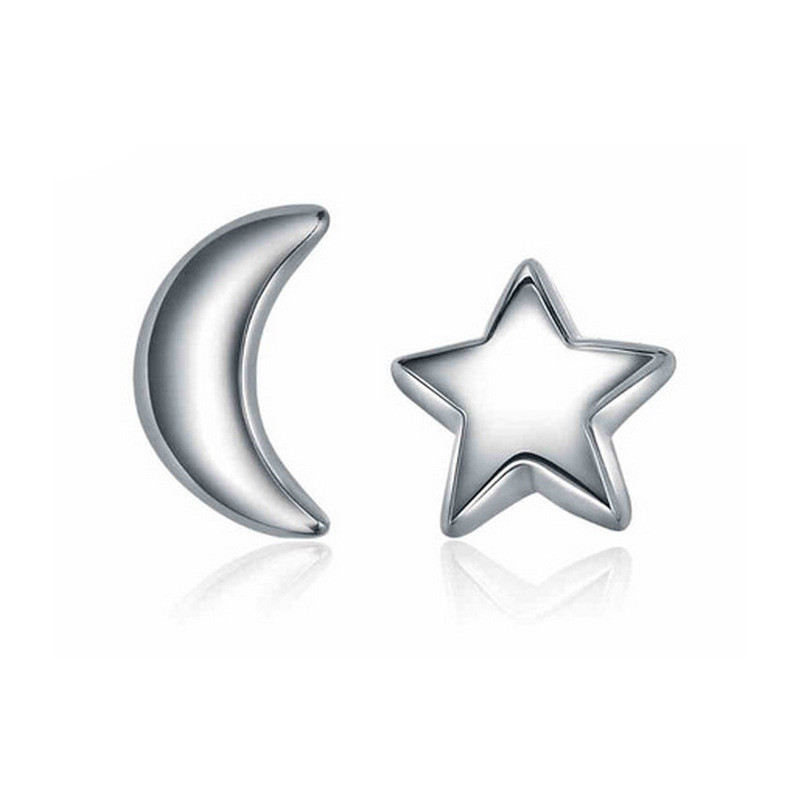 925 Sterling silver Accessories Lovely Ms Star Moon Small Earrings Fashion Gift Temperament Women Jewelry(China (Mainland))