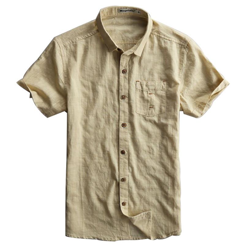 2015 new mens linen shirt short sleeve white dark blue for Mens light blue linen shirt