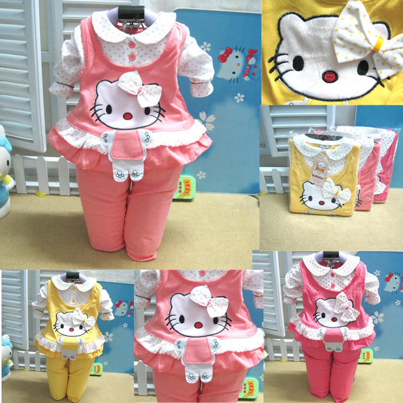 Baby Girl Clothing Sets Autumn Baby suit Pants Clothing Set Long Sleeve 0-24 Months Kids Sets Clothes Free shipping(China (Mainland))