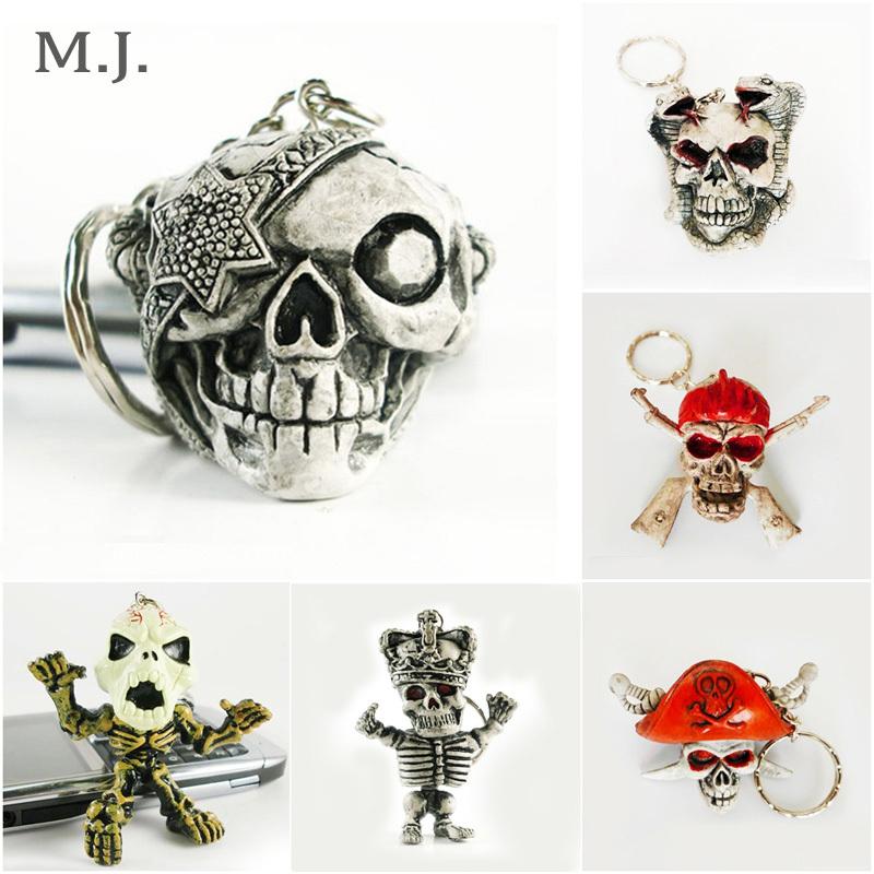 Pirates Of The Caribbean Series Rubber Skull Death Keychain Men Halloween Gift Key Chain Trinket Bag Car Key Ring Charm Jewelry(China (Mainland))