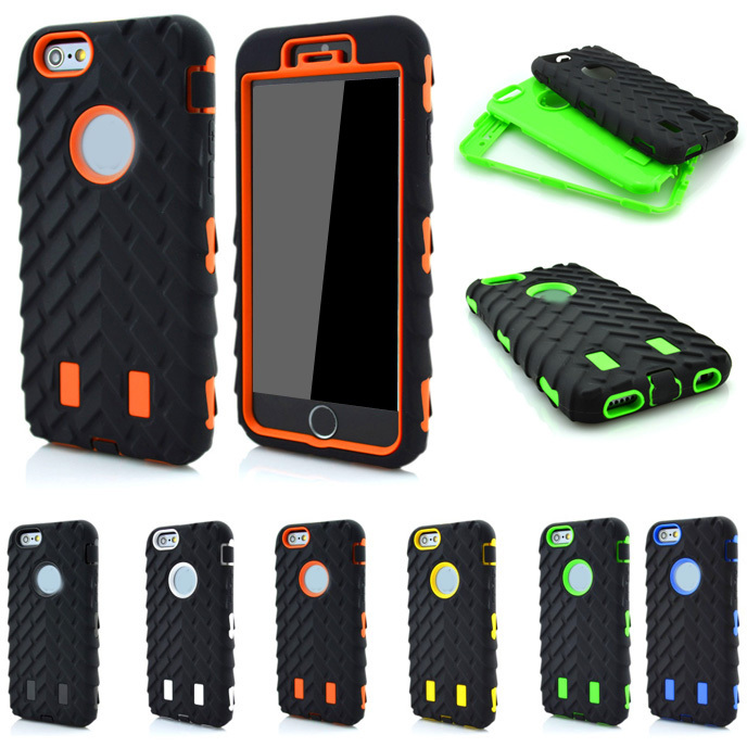 For iPhone6 4.7 Inch Tire Dual Layer Defender Case For iphone 6 TPU + Hard Plastic 3 in 1 Heavy Duty Armor Hybrid Phone Cover(China (Mainland))