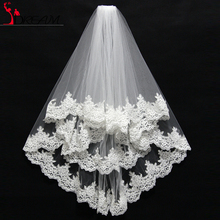 Cheap Promotion White Ivory 2 Layers Lace Wedding Veil with Comb Appliques Tulle Short Bridal Veil Wedding Accessories 2016