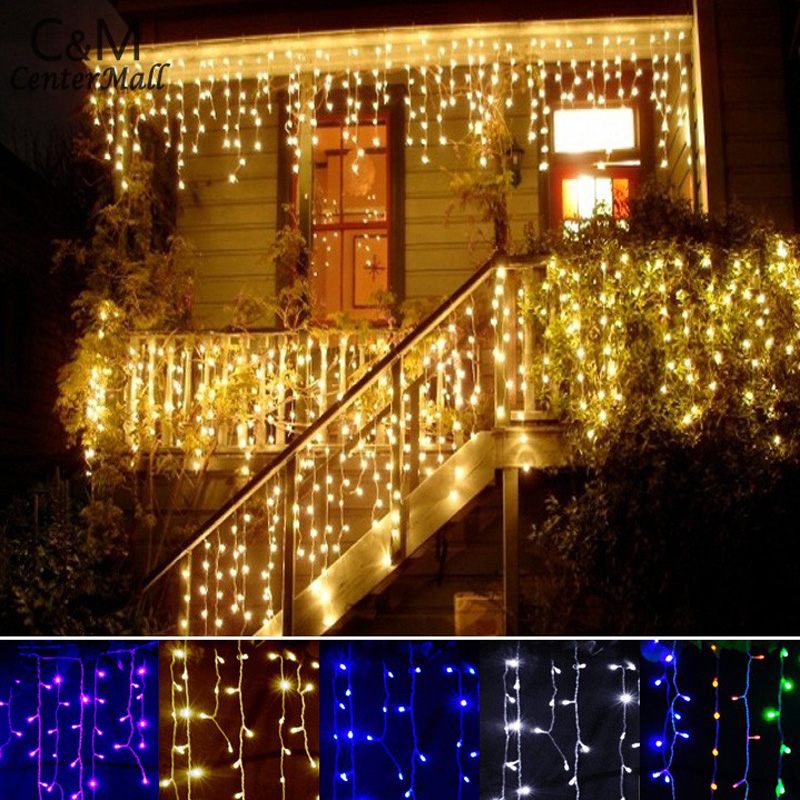String lights Christmas outdoor decoration 3.5m Droop 0.3-0.5m curtain icicle string led lights Garden Xmas Party 110V 220V(China (Mainland))