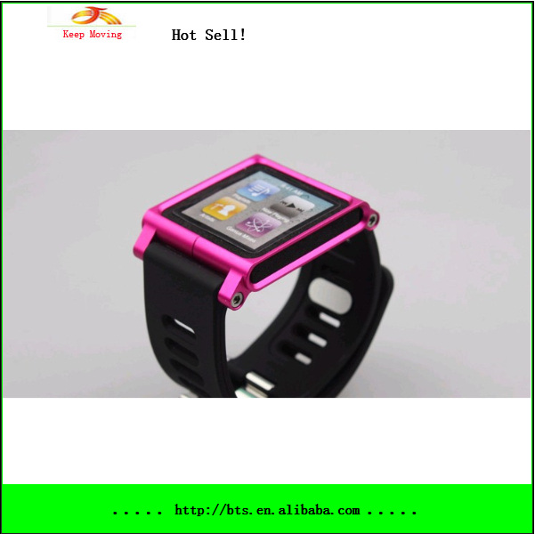 Rubber watch Wrist with Aluminum cover case kit for Apple iPod nano 6 6g 6th generation(China (Mainland))
