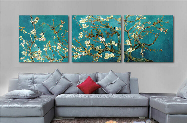 Print Painted Van Gogh Oil Painting Reproductions 3 Piece Abstract Canvas Art Almond Flower Picture Modern Wall Decor(China (Mainland))