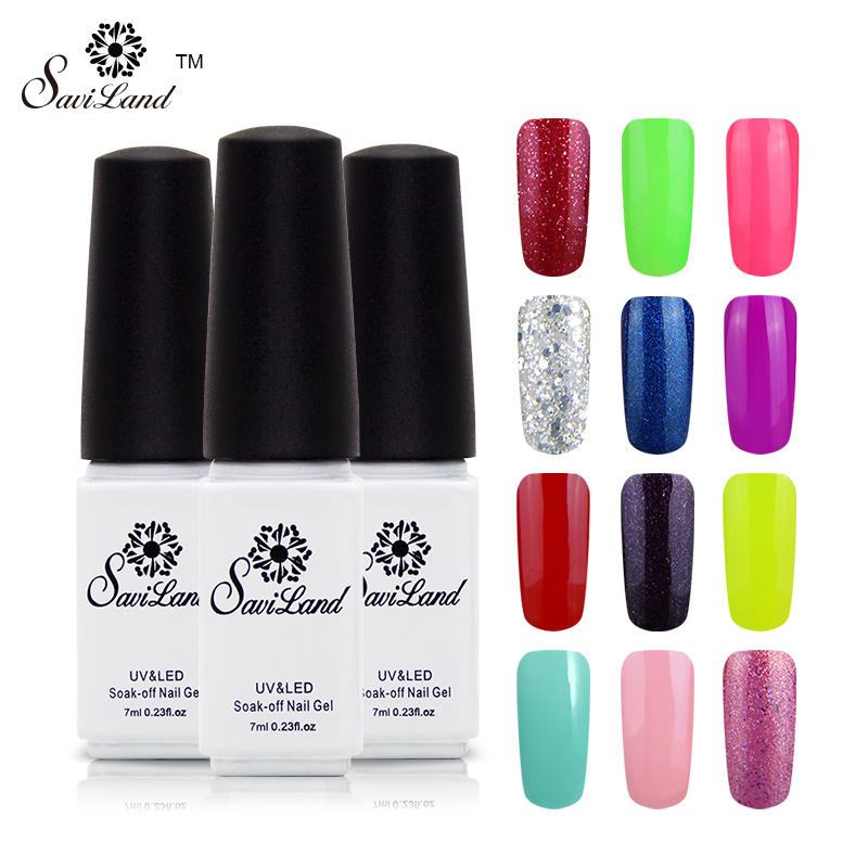 Saviland 1pcs 29 Colorful UV Gel Soak-off Nail Polish UV&LED Gels Professional Nail Art Color for 7ml Gel Varnishes