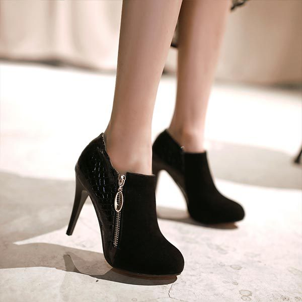High Heel Closed Toe Shoes - Qu Heel