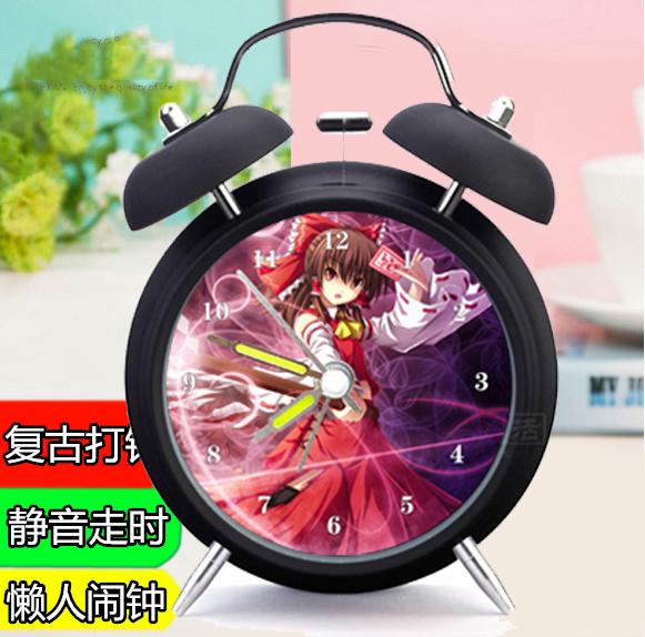 2016 #0113 home office decoration metal Project night light morden vintage brief art alarm clock(China (Mainland))