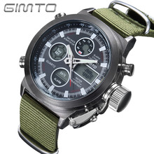 Buy GIMTO Military Sport Watch Analog Digital Nylon Dual Display Watch Men LED Eletronicos Men's Watches Waterproof Wristwatch Mens for $13.09 in AliExpress store