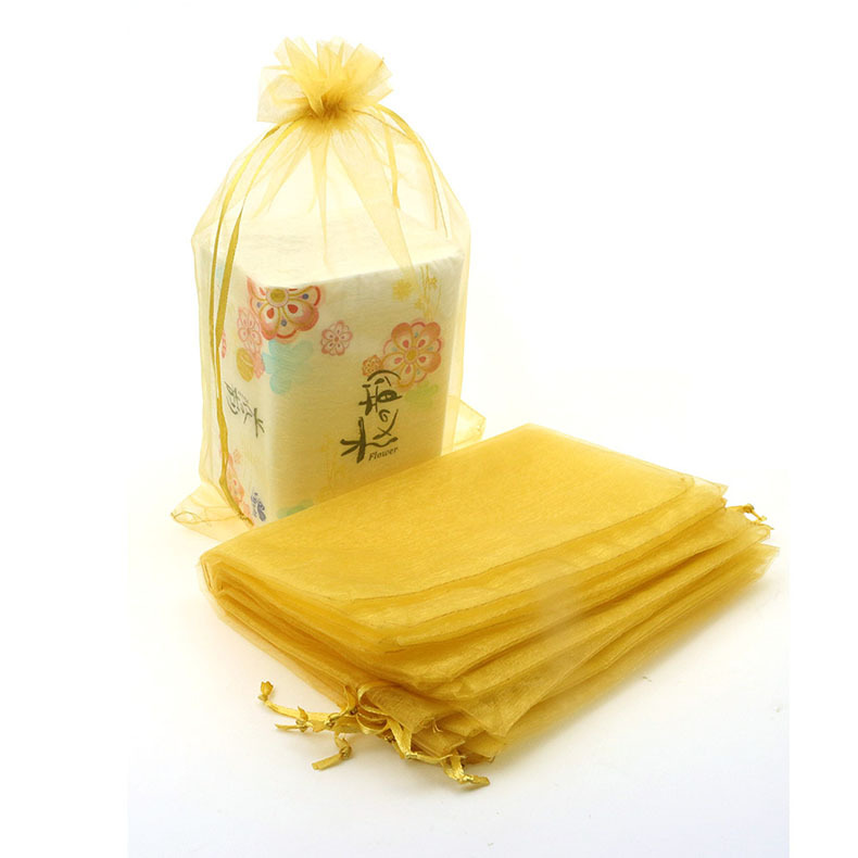 Free Shipping Wholesale 500pcs/lot 20*30cm Yellow Christamas /Wedding Drawable Organza Voile Gift Packaging Bags&amp;Pouches<br><br>Aliexpress
