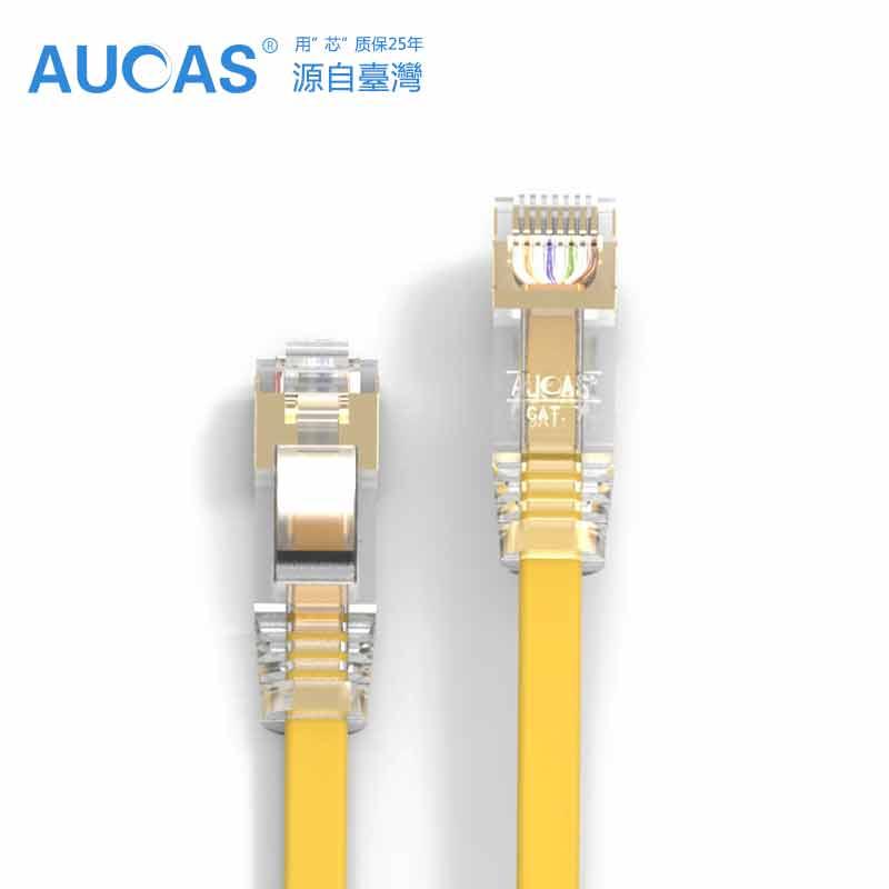 3Pcs/Lot 2 meters AUCAS Ethernet CAT7 (yellow) Flat Patch Cord Cable lan Cable CAT7 1000MHz Patch Lead<br><br>Aliexpress