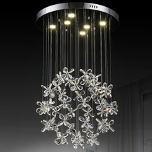 Led Butterfly Crystal Chandelier flower petals art crystal lamp pendant lamp lamp house dining room(China (Mainland))