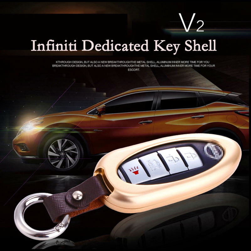 New Aluminum Alloy Interior Accessories Car Key Ring Automatic Car Keychain Automobike Cover Case Car Key Shell for Infiniti(China (Mainland))