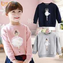 2016 New Spring Hoodies For Girls Ballet Girl Thick Cotton Girls Sweatshirts Casual Baby Girls Pullover Hoodie PT446(China (Mainland))