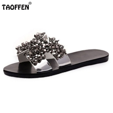Buy Sexy Ladies Flat Sandals Rhinestone Slipper Sandal Open Toe Summer Shoes Women Party Beach Vacation Female Footwears Size 35-40 for $12.77 in AliExpress store