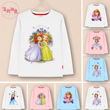 2016 new Cotton kids long sleeve t shirt girl sofia the first princess childrens clothing t-shirt  tops&tees girls full shirts