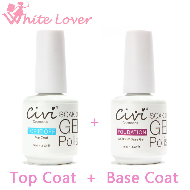 Civi Diamond Nail Gel Top Coat Top it off + Base Coat Foundation for UV Gel Polish Best o 15ml #24002(China (Mainland))