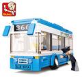 Sluban City Bus Assembled Monolayer Building Blocks DIY toys Educational toys Children Compatible with Birthday
