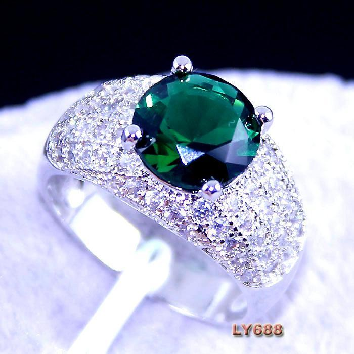 CX3026 silver 18K real white gold plated UNUSUAL Ring green peridot LY688 JEWELRY(China (Mainland))