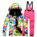 free shipping 2015 new style women ski suit set jackets and pants underwear outdoor single skiing