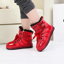 2016 winter new fashion Children Kids winter boots Boys and Girls Martin boots PU warm cotton padded shoes 716(China (Mainland))